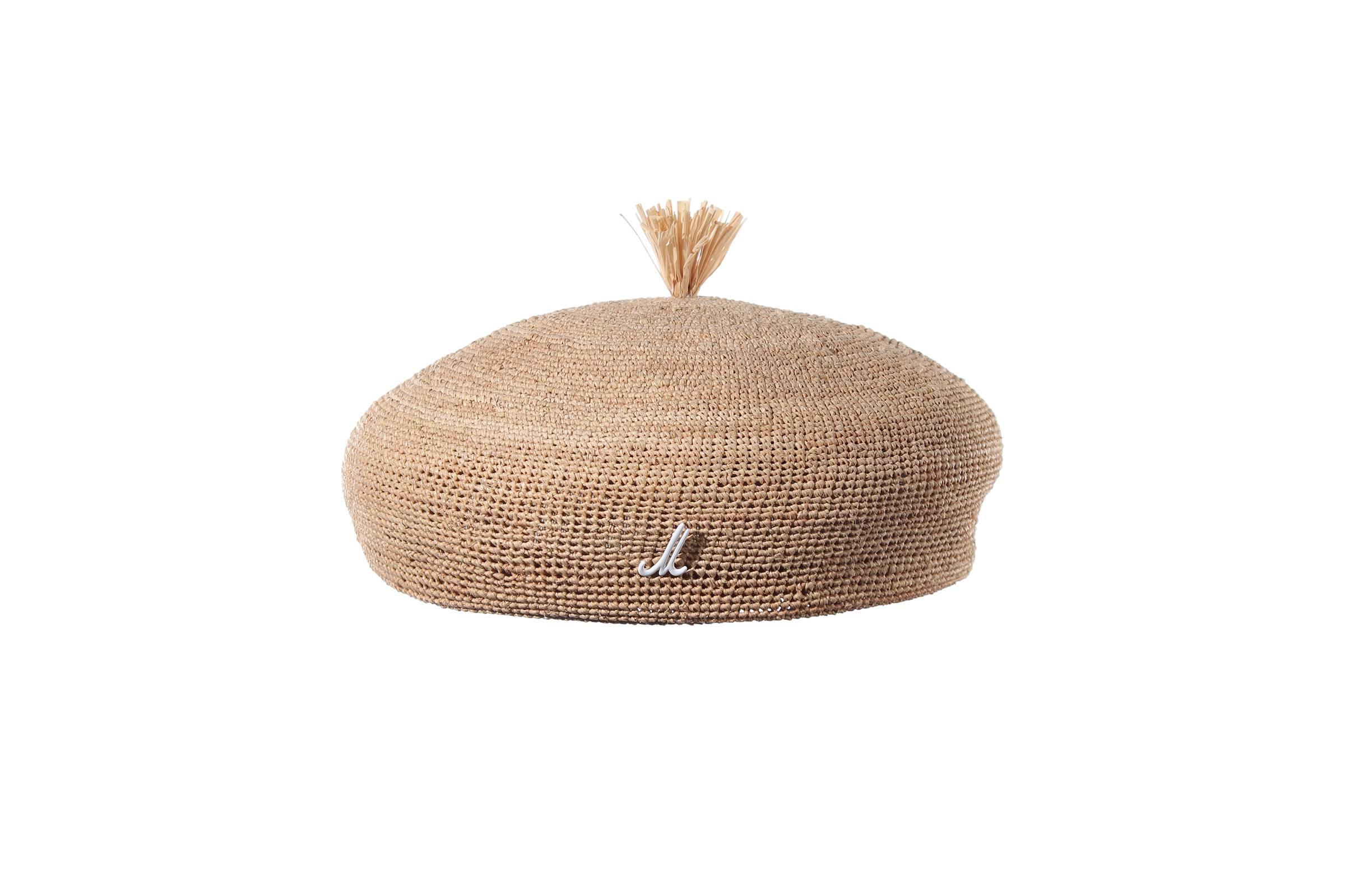 beret CLAIRE Raffia Crochet