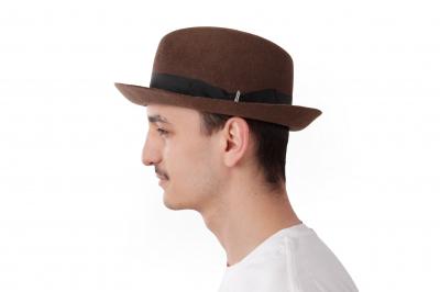 gentleman's hat (leather band) GRAF THEO fur felt / ribbon
