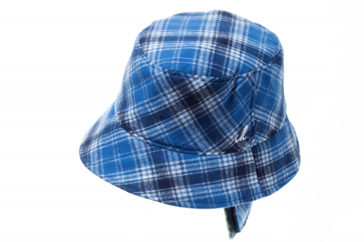 bucket hat TERRY EAR cotton flannel checked / lamb skin