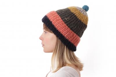 fold-up beanie JUNUS baby alpaca/linen hand-knitted